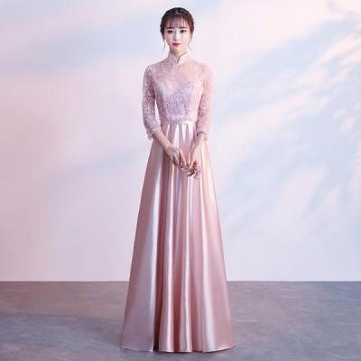 2020新作 パーティードレス ロング丈 ピンク イブニングドレス 二次会 ドレス 披露宴 演奏会 結婚式 お洒落 お呼ばれ 花柄 上品 着痩せ 大きいサイズ