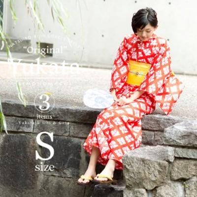女性 浴衣セット「赤色に菱形 絞り風」綿 Sサイズ 女性浴衣 お仕立て上がり [送料無料]