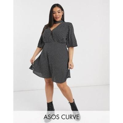 エイソス レディース ワンピース トップス ASOS DESIGN Curve high neck mini dress with flutter sleeve in mono spot