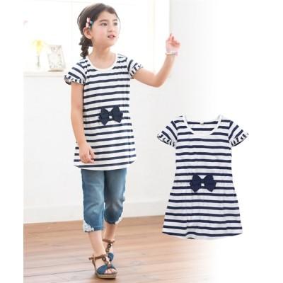 リボン付ボーダーチュニックTシャツ(女の子 子供服・ジュニア服) (Tシャツ・カットソー)Kids' T-shirts