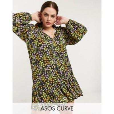 エイソス レディース ワンピース トップス ASOS DESIGN Curve mini smock dress with pep hem and tie neck detail in black based flora