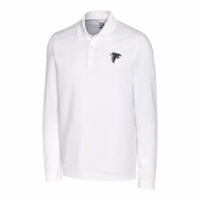 "メンズ ポロシャツ ""Atlanta Falcons"" Cutter & Buck Advantage Long Sleeve Polo - White"