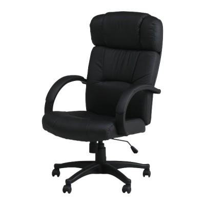 オフィスチェア 座面高44〜51cm レザー調 高さ調整 アームレスト ロッキング機能 ハイバック 疲れにくい デスクチェア ( パソコンチェア ワークチェア )