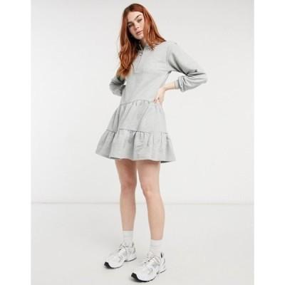 ニュールック レディース ワンピース トップス New Look zip tiered sweat mini dress in gray