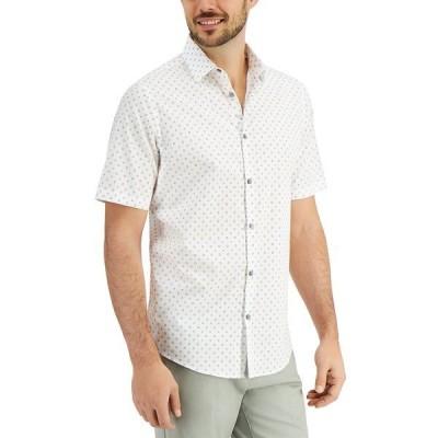 アルファニ シャツ トップス メンズ Men's Dot Print Shirt, Created for Macy's Bright White