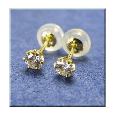 ダイヤモンド ピアス K18 イエローゴールド スタッド 約0.2ct メンズ