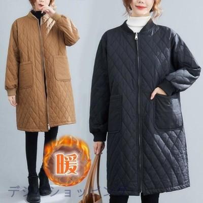コート 中綿ジャケット キルティング レディース 冬 秋冬新作 アウター ミディアム丈 ポケットあり 大人 30代 40代