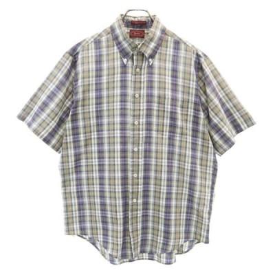 ヨーク 90s チェック 半袖 ボタンダウンシャツ 16-L-16 1/2 ネイビー×グレー Yorke USA製 メンズ 古着 200514 メール便可 ns-0924