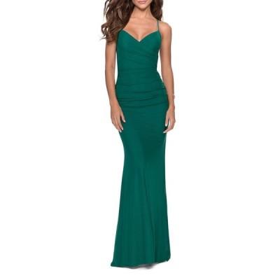 ラフェム レディース ワンピース トップス V-Neck Ruched Jersey Gown w/ Crisscross Lace-Up Back