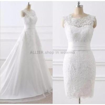ウェディングドレス/ステージ衣装 取り外し可能なトレーンのレースチュールウェディングドレスエレガントなAラインホワイト/アイボリー