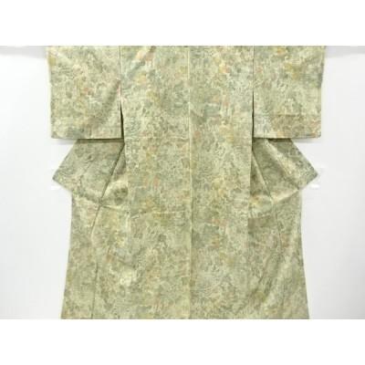 リサイクル 山寺風景模様手織り節紬着物