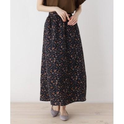【ピンクアドベ】 ペイズリープリントギャザースカート レディース ネイビー 38(M) pink adobe