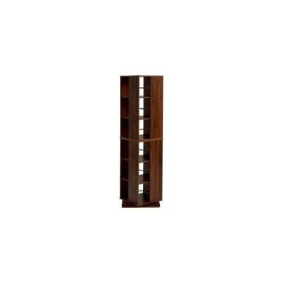 ds-2201950 回転式 本棚/ブックラック 【ブラウン 幅39.5cm×奥行39.5cm×高さ137.5cm】 タワー型 省スペース 〔リビング ダイニング〕【代引不可】