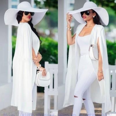 3colorレディースストレッチテーラードジャケットロング丈無地薄手マント肩掛け女性ファッション通勤OLオフィス結婚式二次会20代30代40代上品