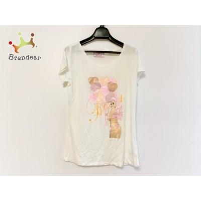 レディ Rady 半袖Tシャツ サイズF レディース - 白×オレンジ×ライトピンク ラインストーン 新着 20200704