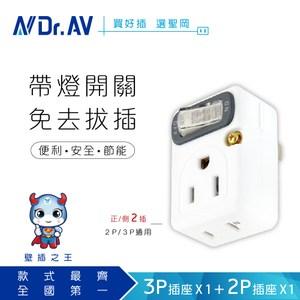 【NDr.AV 聖岡科技】 TNT-827S 節電1開2插分接器