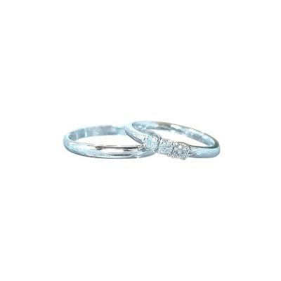 結婚指輪 甲丸 ペアリング ホワイトゴールドk18 ダイヤ ダイヤモンド リング マリッジリング 結婚式 ダイヤ 18金 ストレート カップル 2.3 送料無料