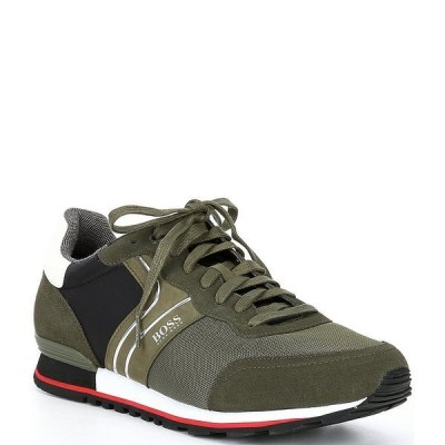 ヒューゴボス メンズ スニーカー シューズ Men's Parkour Suede Lace-Up Sneakers Dark Green