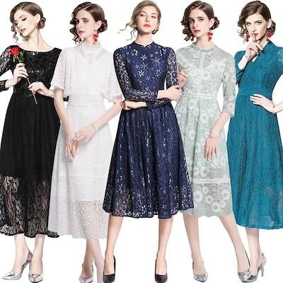 9/23 新作追加韓国ファッション ワンピース ドレス パーティードレス レトロ花柄 刺繍 レース