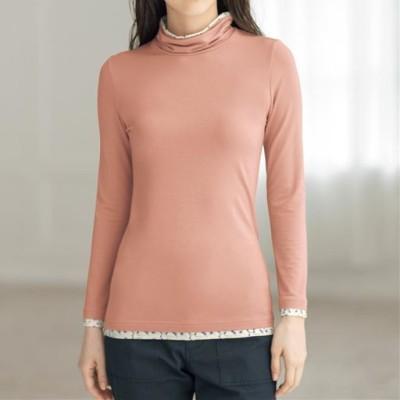 スマートヒート配色使いルーズネックTシャツ(静電気防止・吸湿発熱・吸汗速乾)/ペールモーヴ/LL