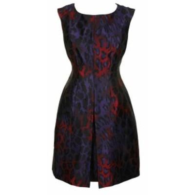 Anne Klein アンクライン ファッション ドレス Anne Klein Purple Sleeveless Jacquard Animal-Print Fit & Flare Dress 6