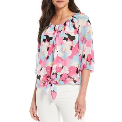 カルバンクライン レディース シャツ トップス Floral Print Chiffon Scoop Neck Bubble Sleeve Tie Front Blouse