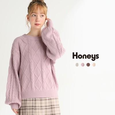 トップス セーター ニット レディース 長袖 秋 冬 Honeys ハニーズ 後リボンプルオーバー【WEB限定LLサイズ有】