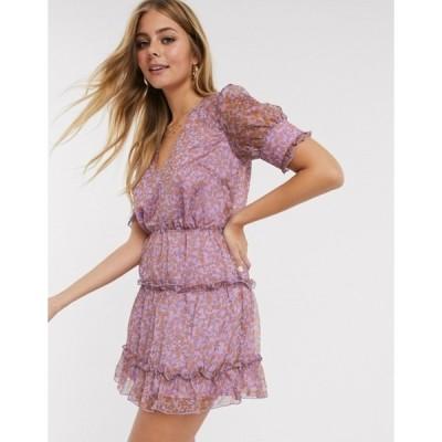 イーストオーダー レディース ワンピース トップス The East Order talan printed tiered mini dress in violet meadows