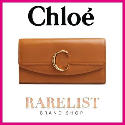 クロエ Chloe 財布 長財布 ブラウン ゴールド レザー 本革