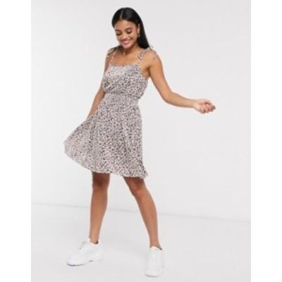 エイソス レディース ワンピース トップス ASOS DESIGN plisse mini dress in floral print White based floral