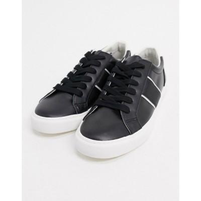 エイソス メンズ スニーカー シューズ ASOS DESIGN sneakers with side stripe in black Black