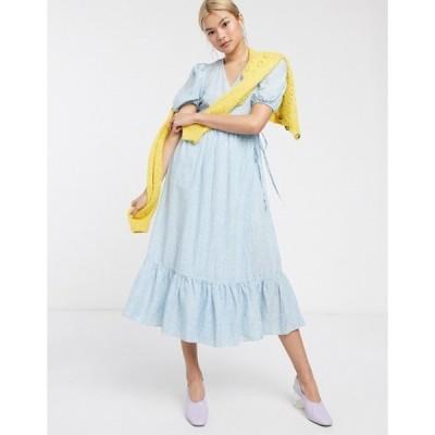 アンドアザーストーリーズ レディース ワンピース トップス & Other Stories linen floral print puff sleeve wrap dress in blue