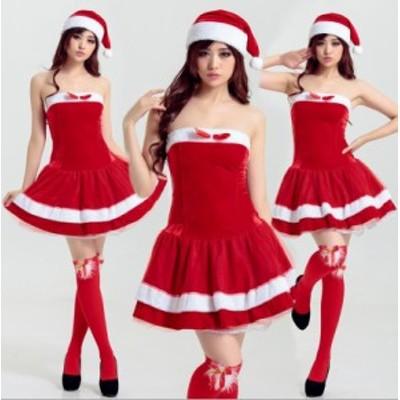 クリスマス サンタコス 仮装衣装  コスプレ サンタクロース コスチューム ミニドレスワンピース[F][赤]