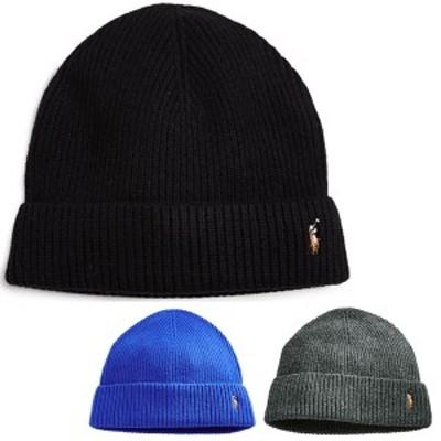 ポロ ラルフローレン ニットキャップ シグニチャー メリノ カフ ハット 帽子 Polo Ralph Lauren Signature Merino Cuff Hat PoloBlack
