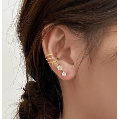 即納片耳用イヤーカフス ピアス 金属アレルギー 2個セット イヤカフ 韓国ピアス 軟骨ピアス メタル