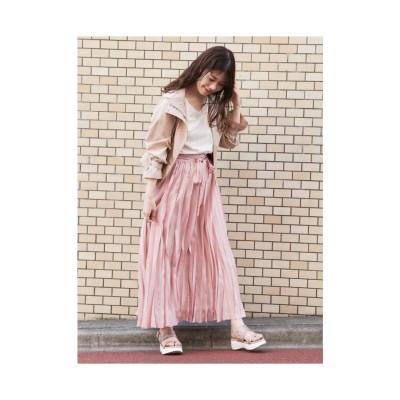 dazzlin シアープリーツロングスカート ピンク