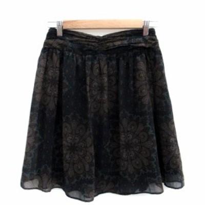 【中古】ユナイテッドアローズ UNITED ARROWS スカート フレア ひざ丈 総柄 38 マルチカラー 緑 グリーン レディース