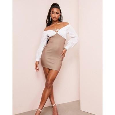エイソス レディース ワンピース トップス ASOS LUXE oversized poplin shirt mini dress with scuba skirt in brown