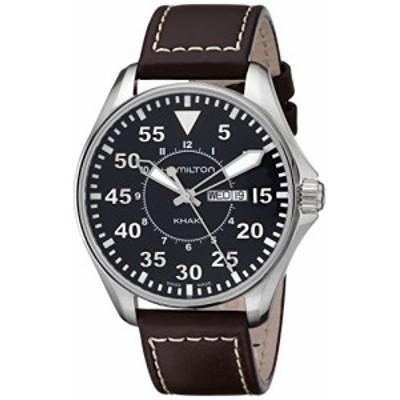 腕時計 ハミルトン メンズ Hamilton Men's H64611535 Khaki King Pilot Black Watch with Brown Leather B