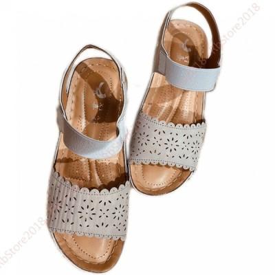 サンダル 疲れない レディース 夏 歩きやすい 素足 痛くない 靴 旅行 厚底 ベルクロ ママ 30代 40代 ファッション 大きいサイズ リラックスサンダル ぺたんこ