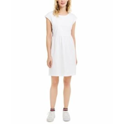 トミー ヒルフィガー レディース ワンピース トップス Eyelet-Embroidered Side-Striped Dress Bright White