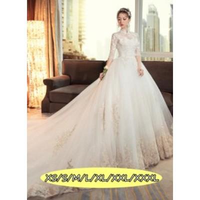 ウェディングドレス 結婚式ワンピース きれいめ 花嫁 ドレス ハイウエスト 高級刺繍 Aラインワンピース 白ドレス ホワイト色