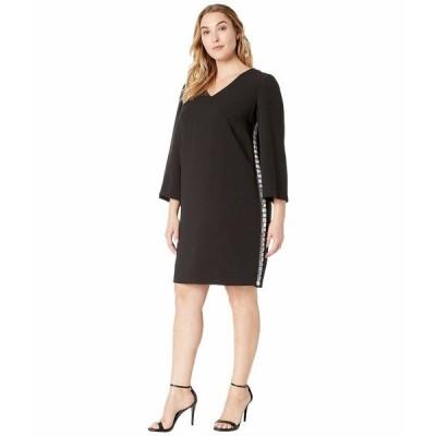 タハリ ワンピース トップス レディース Plus Size Shift Dress with Jewel Side Stripe Black