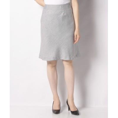 【カールパークレーン】 麻調シャークAラインスカート レディース 白×グレー 11号 Karl Park Lane