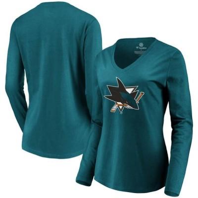 レディース スポーツリーグ ホッケー San Jose Sharks Fanatics Branded Women's Primary Logo Long Sleeve V-Neck T-Shirt - Teal Tシャツ