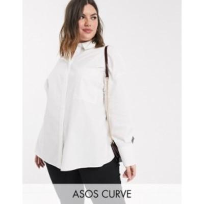 エイソス レディース シャツ トップス ASOS DESIGN Curve long sleeve boyfriend shirt in white White