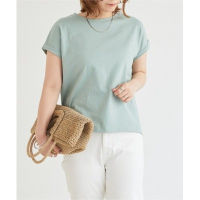 【ドゥ アルシーヴ】 綿100% 袖折り返しTシャツ レディース グリーン M DOUX ARCHIVES