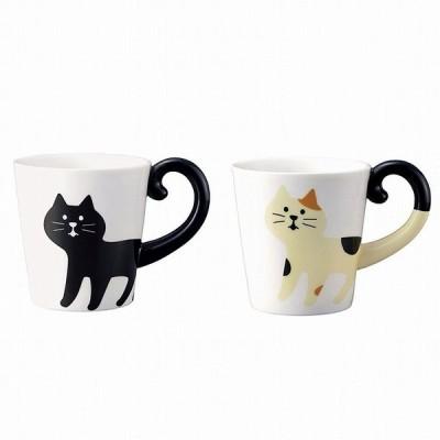 マグカップ しっぽマグ  黒猫 三毛猫 DECOLE デコレ conconbre コンコンブル マグカップ マグ 陶器 キッチン 食器 猫 ねこ ネコ cat キャット(あすつく対応)