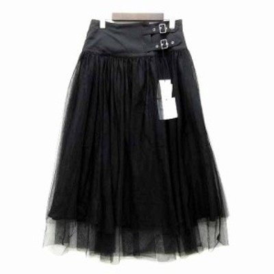 【中古】未使用品 ドノバン DONOBAN ベルト ラップ チュール スカート ロング丈 ブラック 黒 M レディース