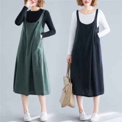 無地カジュアル 可愛い サロペットワンピース つりスカート ポケッ ゆったり レディース Aライン サロペットスカート 大きいサイズ 83901